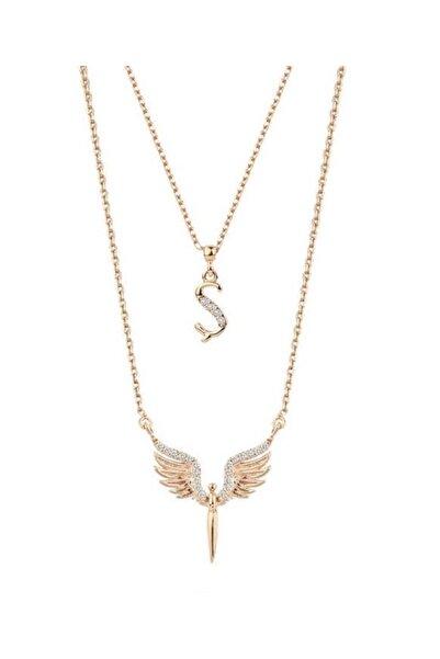 Harem Altın Harfli Mikail Meleği Melek Rose Renk Gümüş Kolye Gms2058
