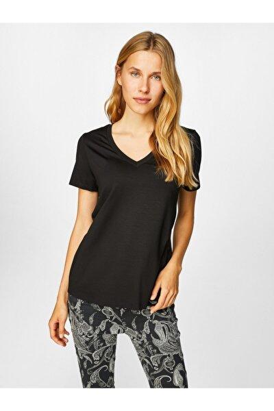 Faik Sönmez Kadın Siyah V Yaka Kısa Kol T-shirt 00001