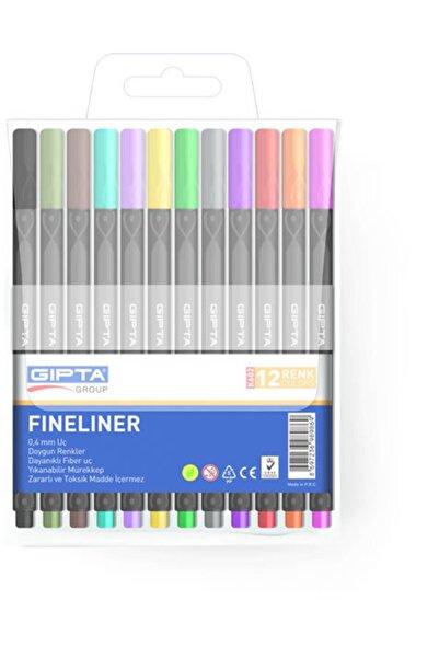 Gıpta Fineliner Keçe Uç Kalem 0.4 Mm Üçgen 12 Renk 4-k602000-5001