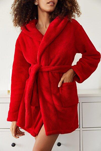 XENA Kadın Kırmızı Yumuşak Welsoft Çift Cepli Kapüşonlu Sabahlık 1KZK8-11193-04