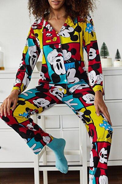 XENA Kadın Hardal Baskılı Pijama Takımı 1KZK8-10834-37