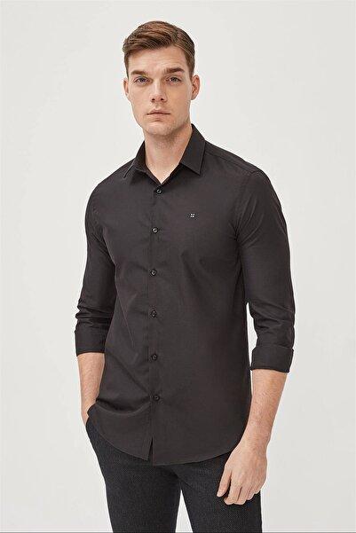 Avva Erkek Siyah Düz Klasik Yaka Slim Fit Gömlek E002002