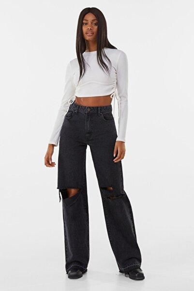 Bershka Kadın Siyah Distressed 90's Jean