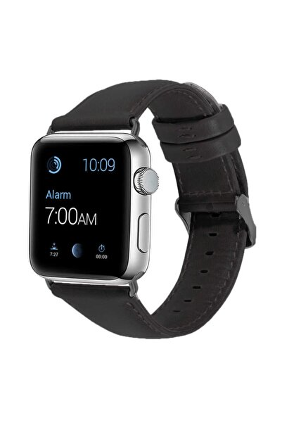 zore Apple Watch 1 2 3 4 5 6 Se Serisi 44mm Kordon Deri Dikişli Leather Klasik Kayış