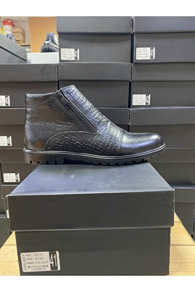 Galaxy Erkek Siyah Deri Kışlık Bot Ayakkabı 6014