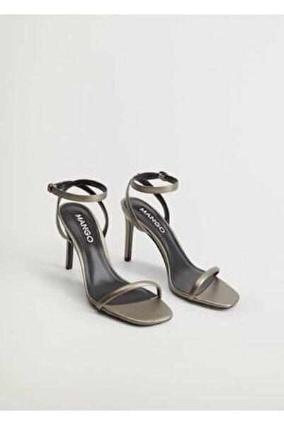 Kadın Koyu Gümüş Rengi Timsah Derisi Desenli Bantlı Sandalet  77010043