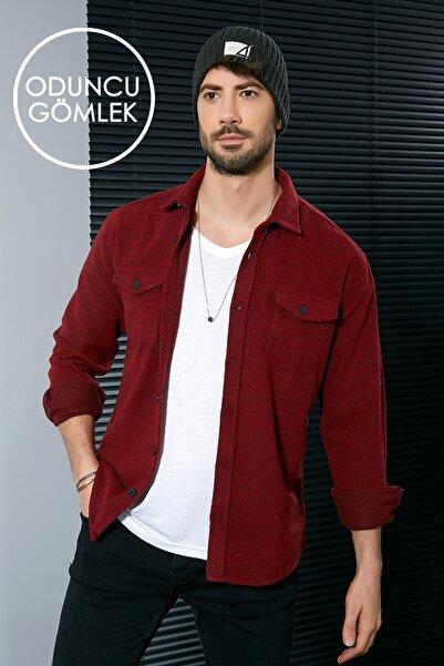 Sateen Men Erkek Kırmızı Oduncu Gömlek