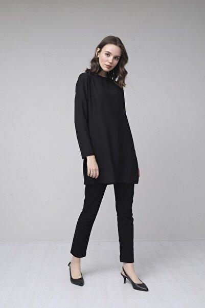 Moodbasic Kadın Siyah Uzun Kollu Krep Tunik