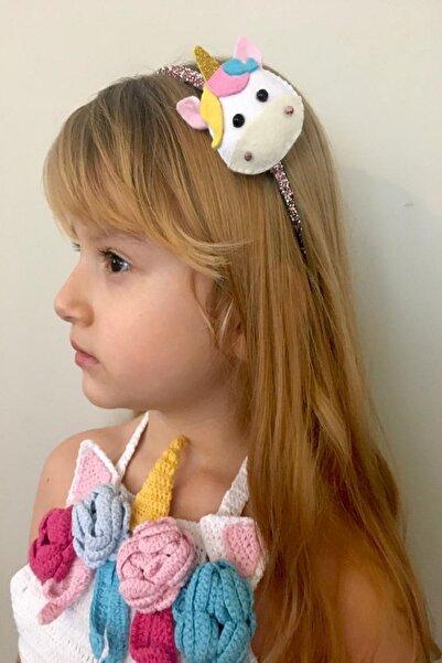 BUKALEMUN COMPANY Unicorn Figürlü Çocuk Party Hediyelik Pembe Kristal Işıltılı Taç