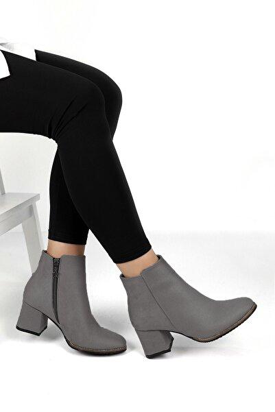 Ayakkabı Fuarı Kadın Koyu Gri Bot 73a