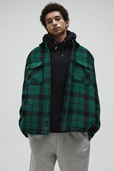 Pull & Bear Yakası Suni Yünlü Yeşil Kareli Ince Ceket