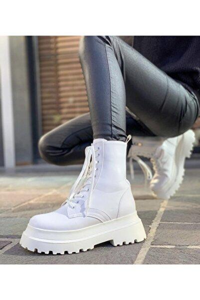 Mole Negro Kadın Beyaz Deri Postal Bağcıklı Ve Fermuarlı Bot Ayakkabı