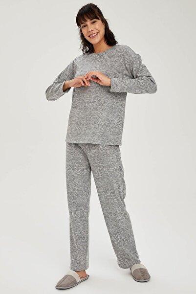 DeFacto Kadın Gri Relax Fit Sweatshirt Ve Eşofman Altı Takımı