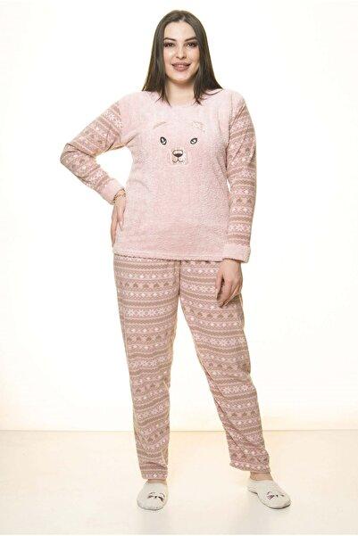 Moday Kadın Pembe Polar Wersoft Kışlık Pijama Takımı 32c-1518