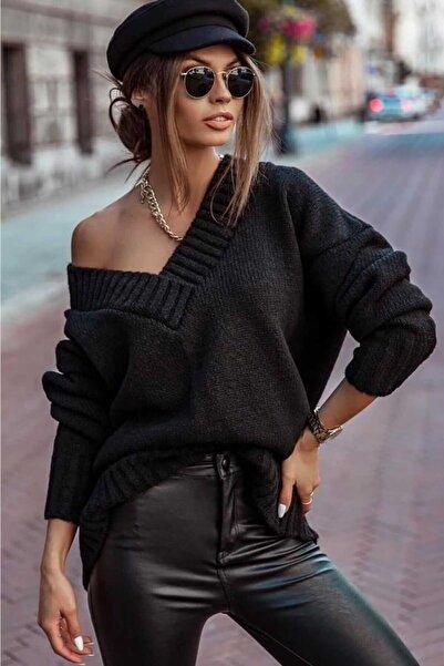 Madmext Kadın  Siyah V Yaka Oversize Kazak Mg766