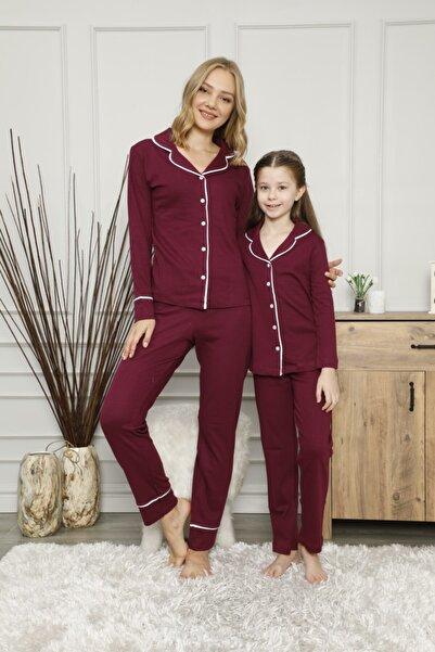 Çekmece Bordo Düğmeli Biyeli Uzun Kol Pamuklu Pijama Takım