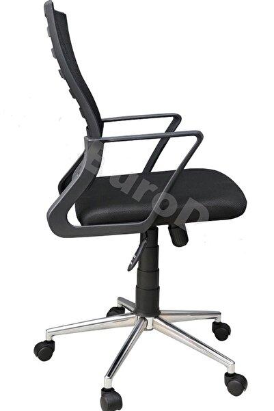 Porziyon Siyah Suel Çelik Krom Ayaklı Sırtı Yaylanır Çalışma Sandalyesi Ofis Koltuğu