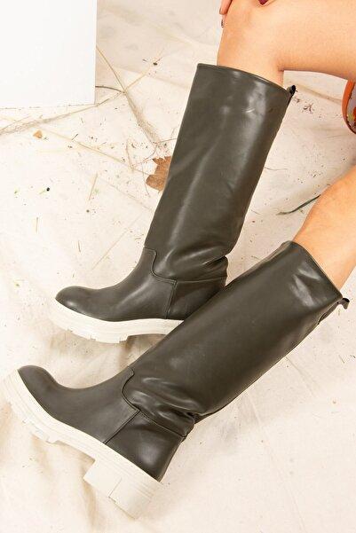 Fox Shoes Haki Kadın Günlük Düz Çizme J670123709