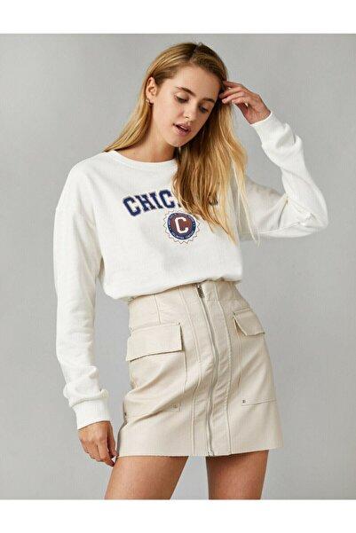 Koton Kadın Beyaz %100 Pamuk Letter Printed Crew Neck Sweatshirt