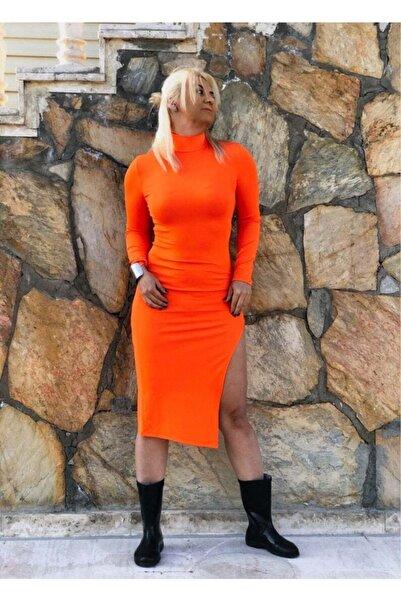 ŞAHİKA Kadın Dik Yaka Yırtmaçlı Midi Elbise