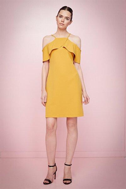 Journey Kadın Sarı Ince Askılı Ön Ve Omuz Üstü Volan Görünümlü Kalem Elbise 18yelb117