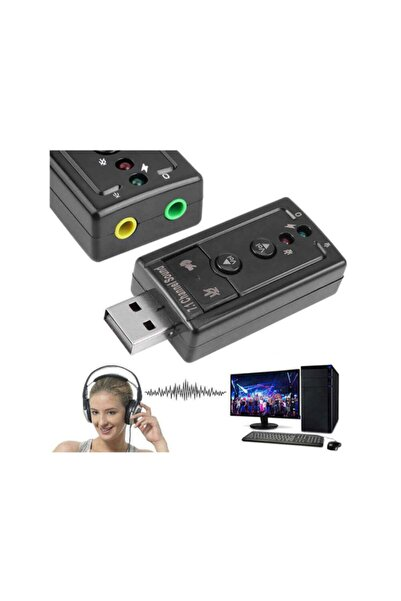 WOZLO 7.1 Usb Ses Kartı Harici External Usb Sound Kart Virtual 3d Çevirici