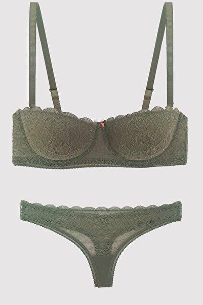 Pierre Cardin Kadın Yeşil Verona Soft Push Up Sutyen Takım 4703