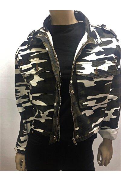 GO VİDA Kadın Boğazlı Kamuflaj Desenli Ceket