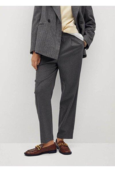 MANGO Woman Kadın Gri Pantolon