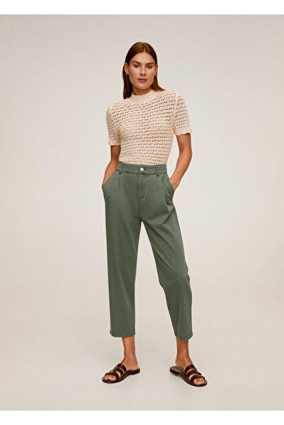 MANGO Woman Kadın Yeşil Rahat Koton Pantolon 67037664