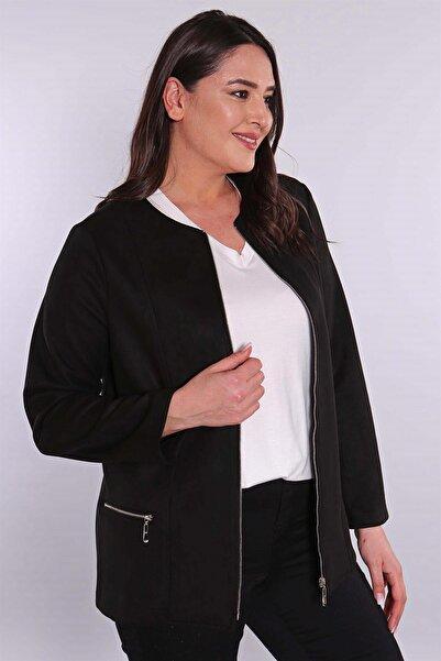 Metpoint Kadın Fermuarlı Siyah Süet Ceket