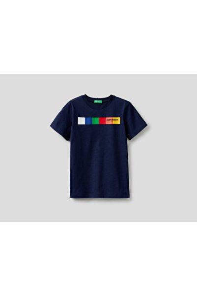 United Colors of Benetton Erkek Lacivert Çocuk  Yazılı T-shirt