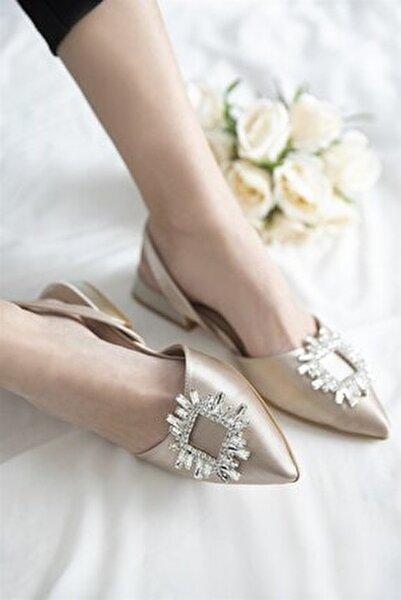 Kadın Ten Loden Topuklu Taş Detay Saten Sandalet