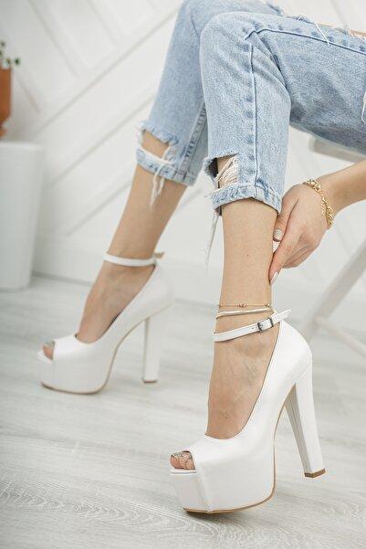 Tolgado Kadın Yüksek Topuk Burnu Açık Platform Beyaz Cilt