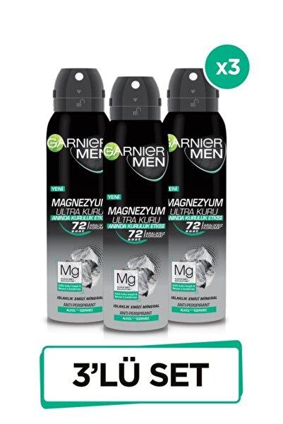 Garnier 3'lü Men Magnezyum Ultra Kuru Sprey Erkek Deodorant Seti