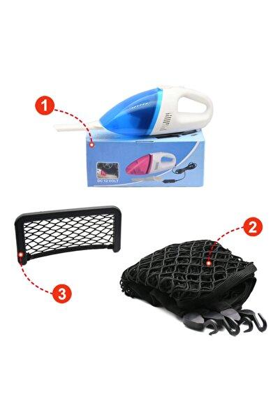 Tamam Araç Içi Pratik Ve Avantajli Set 3ü Bir Aarada (oto Süpürgesi+bagaj Ağı Lastikli Çanta+saklama Cep)