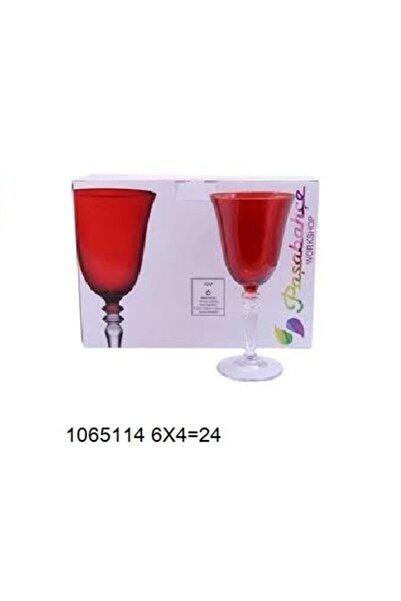 Paşabahçe Ayaklı Bardak Kırmızı Renk 270 Cc 6 Adet