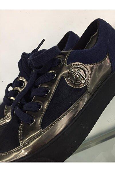 Armani Jeans Metalik Renk Bloklu Spor Ayakkabı