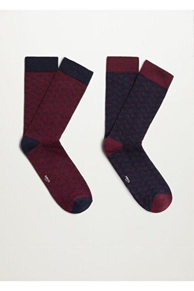 MANGO Man 2'li Geometrik Desenli Çorap