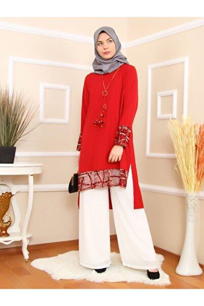 Mankens Fashion Kadın Kırmızı Büyük Beden Tunik