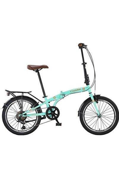 Ümit 2034 Cunda Folding 6 Vites Katlanır Bisiklet Şehir Bisikleti Turkuaz-gold