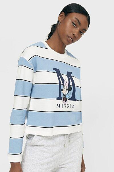 Stradivarius Kadın Mavi Yamalı Çizgili T-shirt