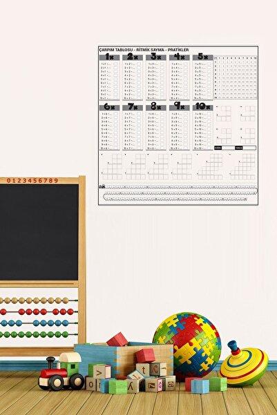 CNZ Pratik Çarpım Tablosu Kağıt Tahta 100x100 cm + 2 Adet Doldurulabilir Beyaz Tahta Kalemi