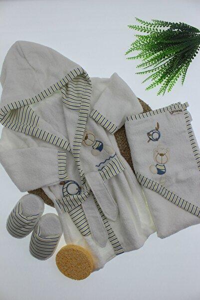Bebitof Baby Ayıcık Aplikeli Çizgili 4'lü Bornoz Seti