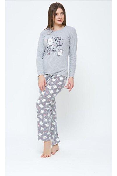 Estiva 20304 Bayan Kışlık 2 Iplik Pijama Takımı Gri