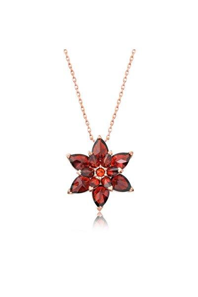 Gumush Gümüş Kırmızı Lotus Çiçeği Kolye