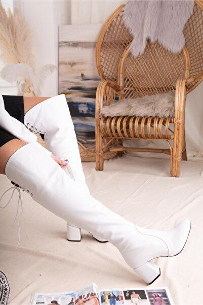 Limoya Tabitha Beyaz Çizme Alçak Kalın Topuklu