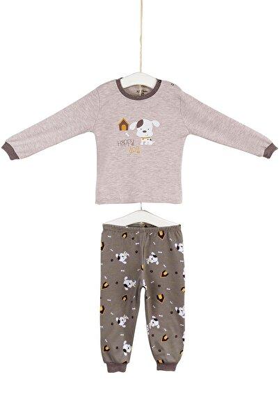 Aziz Bebe Erkek Bebek Bej Köpekcik Baskılı Pijama Takımı