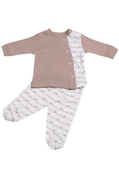 Pierre Cardin Baby Pierre Cardin Küçük Yazı Baskılı Patikli Bebek Takımı Kahverengi