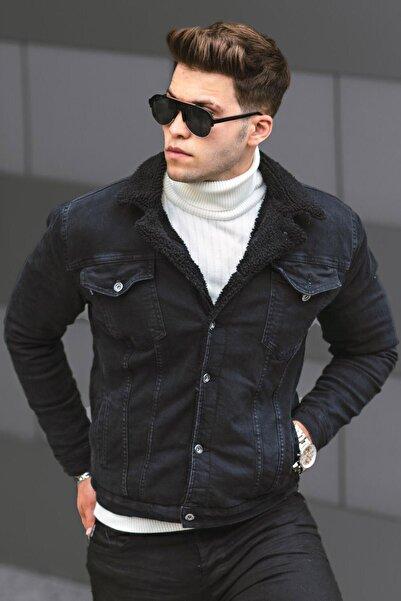 Madmext Erkek Siyah Kürklü Jean Ceket
